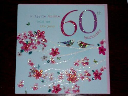 60th Anniversaire ~ Birdsong ~ Paillettes Carte de vœux ~ woodmansterne libre p/&p