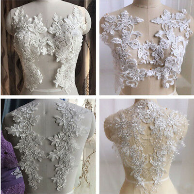 Embroidery Wedding Dress Applique Sew on Lace Motif Floral Bridal Trim 1 Pair