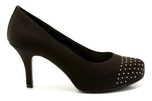 Clarks Drum Time Women/'s UK 5 to 7 Black Satin Embellished High Heel Court Shoes