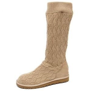 Woman no suede Scarpe E9646 Shoe Donna Boot Ugg Wool Stivale Beige Box TxnqdFwP