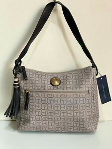 NEW-TOMMY-HILFIGER-LOGO-TAUPE-BROWN-GRAY-BUCKET-HOBO-BAG-PURSE-79-SALE