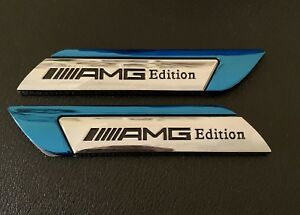 2 X MERCEDES ///AMG EDITION Side Wing Fender Badge Emblem