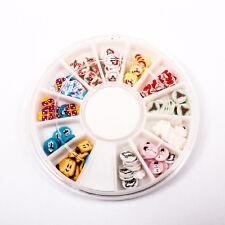 120pcs (1BOX) Christmas Wheel Decor Fimo Clay Nail Tips Art Slice Craft A1715-6