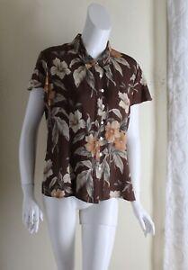 Exquisite-Jones-New-York-Sz-16-Tropical-Fine-Silk-Pleated-Romantic-Blouse-Shirt