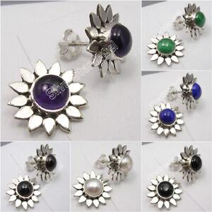 925-Sterling-Silver-FLOWER-Stud-Earrings-ROUND-Gemstones-Fine-Jewelry-NEW
