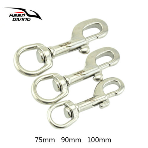 Durable Diving 316 Stainless Steel Single Head Buckle Scuba Safety Carabiners L
