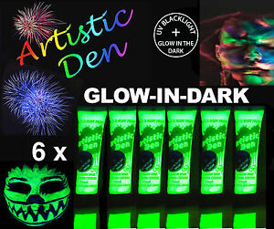 6-x15ml-UV-NEON-GLOW-IN-THE-DARK-FACE-amp-BODY-PAINT-2-in-1-By-Artistic-Den