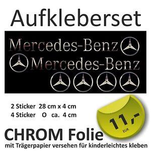 Aufkleber-Set-Mercedes-Benz-CHROMFOLIE-gt-Spiegeleffekt-4-Logos-GRATIS