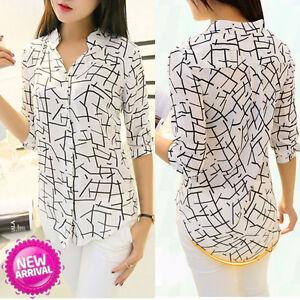 Women-039-s-Chiffon-Shirt-Loose-Long-Sleeve-V-Neck-Formal-Casual-Blouse-Shirt-Tops