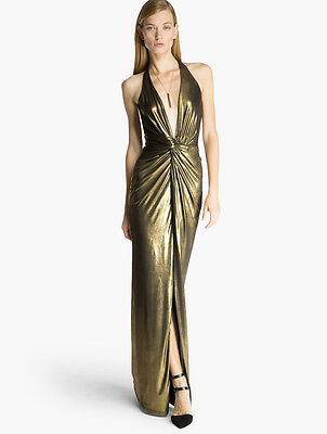 HALSTON HERITAGE Metallic Jersey Gown Antique Gold