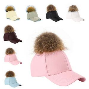 36e818758a2 Fashion Women Real Fur Pom Pom Ball PU Leather Winter Hat Baseball ...