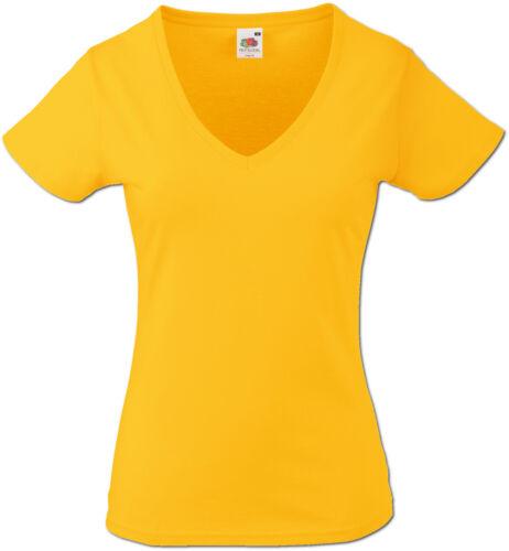 Fruit of the Loom Damen T-Shirt V-Neck Valueweight V-Ausschnitt 613980 XS XXL