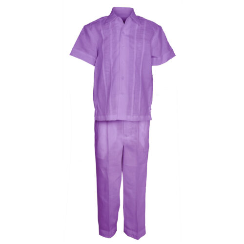 Boys Lavender 100/% Linen Set Guayabera Pleat Embroidered Shirt /& Pant 4 to 18
