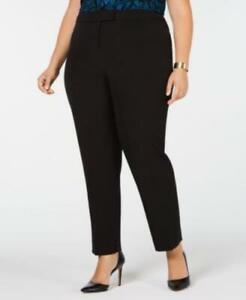 Anne Klein Womens Ladies Black Straight Leg Casual Dress Pants Plus Size 24W