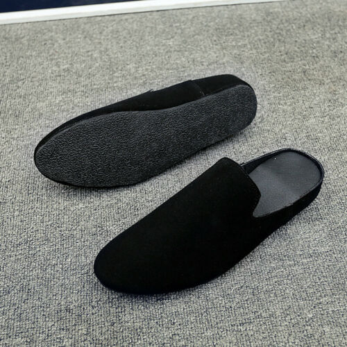 Mens Slip On Faux Suede Pointy Toe Backless Loafers Slippers Casual Shoes Size