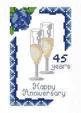 SAPPHIRE (45 ) WEDDING ANNIVERSARY CROSS STITCH CARD KIT