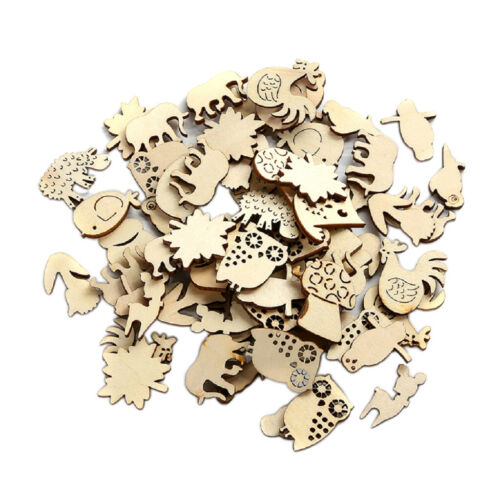 50x MDF Wooden Small Animal Shapes Slices DIY Craft Scrapbook Party Decor Pieces