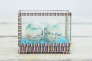 Vintage Japanese Asian Hand Painted Eggs In Display Case Asian Japanese Decor