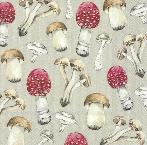 4 Lunch Paper Napkins for Decoupage Party Table Craft COUNTRY MUSHROOMS linen