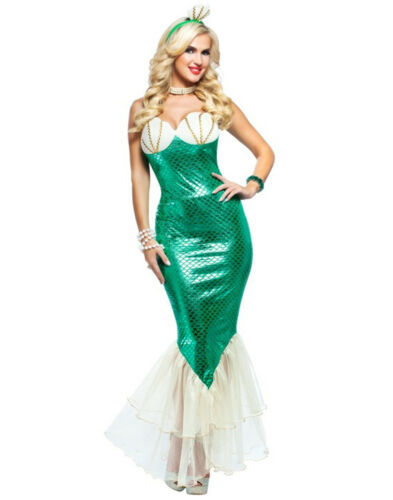 Green White Adult Magical Mermaid Ariel Halloween Costume Dress