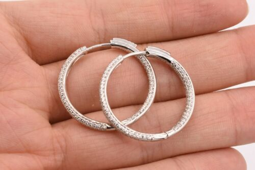 30mm Inside Out Diamonique Pave CZ Hoop Earrings 14K White Gold Clad Silver 925