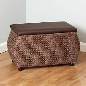 Fine Details About Double Large Storage Ottoman Stool Toy Box Blanket Trunk Seat Bench Wicker Brown Alphanode Cool Chair Designs And Ideas Alphanodeonline