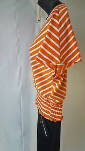 Women-039-s-Blouse-Lace-Short-Sleeve-Elastic-Waist-Crochet-orange-and-white-Size-m