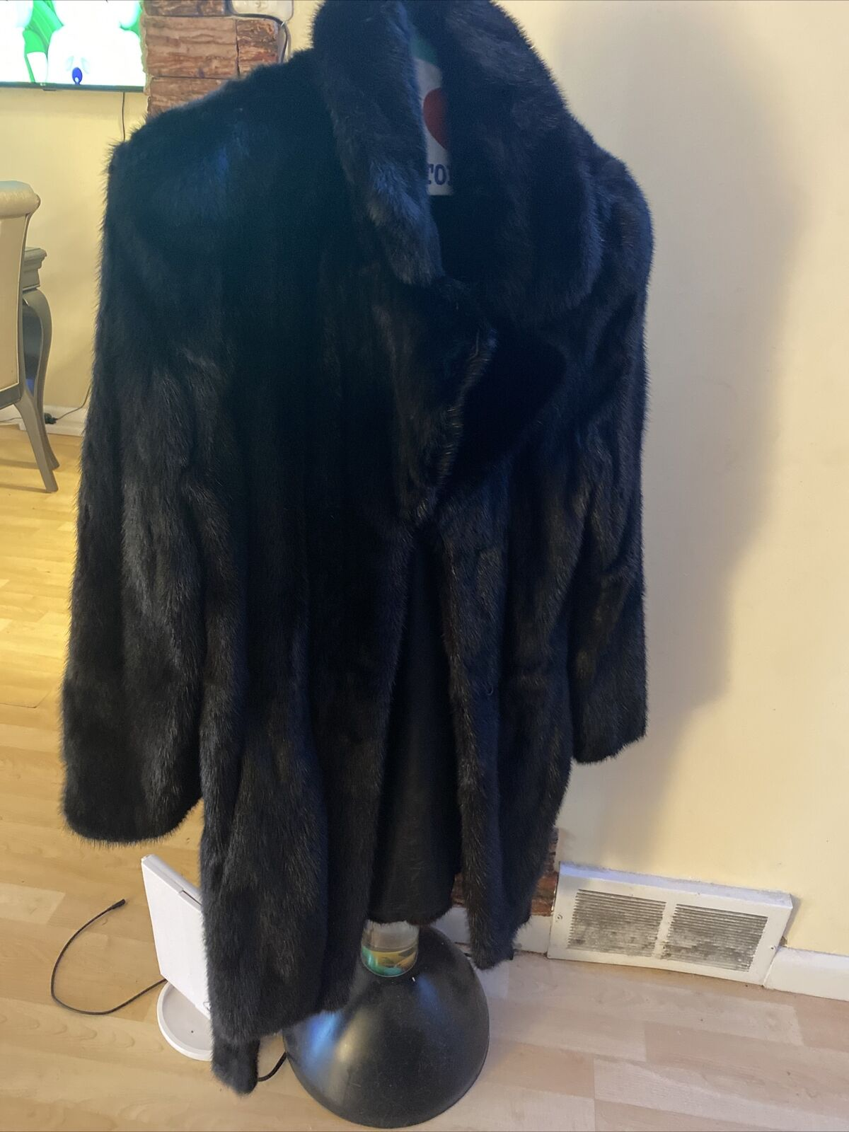 fancy, natural solid mink coat, black diamond