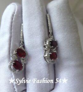 ???? Belles boucles d'oreilles Argent 925 pendantes Grenat et brillants zc.