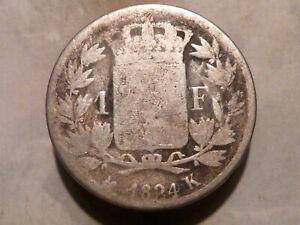 LOUIS-XVIII-1-FRANC-ARGENT-1824-K-BORDEAUX-RARE-amp-QUALITE-B