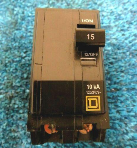 Square D 2P 15A 120//240V 10kA QOB215 Circuit Breaker
