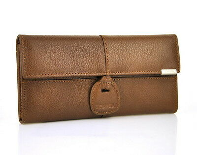 Women Genuine Real Leather Trifold Wallet Long Purse Purse Card Holder Coin Bag