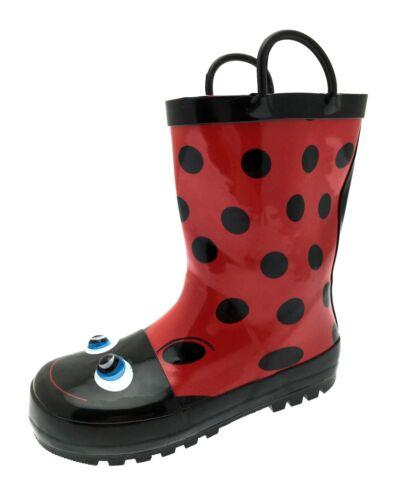 Kids Girls Boys 3D Wellington Boots Snow Rain Wellies Pull On Handles Size 9-2