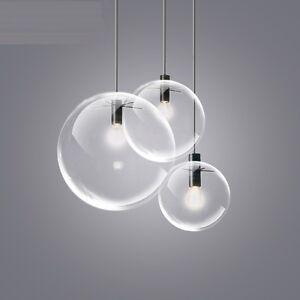 colgante-de-techo-lampara-TRANSPARENTE-Esfera-Cristal-Pantalla-candelabro-Luces