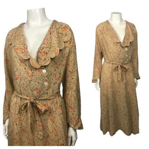 1930s Scalloped Dress / 30s Floral Art Deco Tie Be