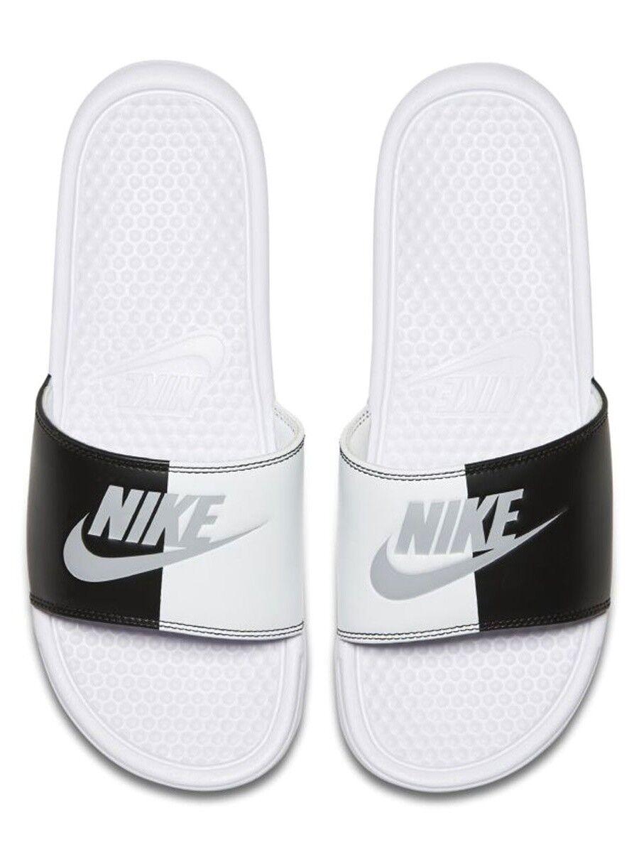 NIKE Men's Benassi  Athletic Sandal, White Pure Platinum Black White sz 13
