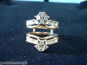 2ctw Lcs Diamond Wedding Engagement Ring Guards Enhancers Size 8 Ebay