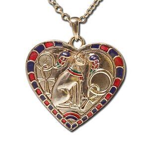 EGYPTIAN-BAST-BASTET-HEART-SHAPE-NECKLACE-PENDANT-JEWELRY-NEW