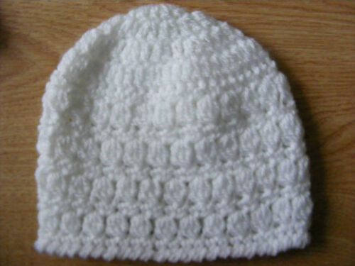 choice of white blue or pink Free Postage! Handmade Newborn Baby Hat