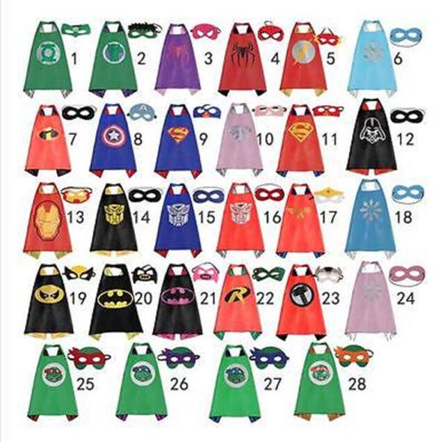 Boy&Girl Party Superhero Cape - Mask Costume Set Spiderman Batman Superman