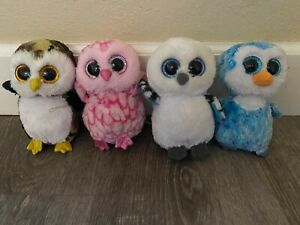 Ty Beanie Boo Owl 4-Pack, Includes Army, Pink, Snow, and Ice Owl
