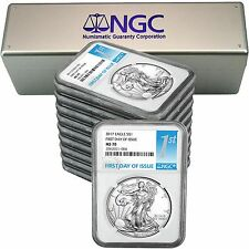 2017 Silver American Eagle MS70 FDI NGC 1st Label 10pc in NGC Box