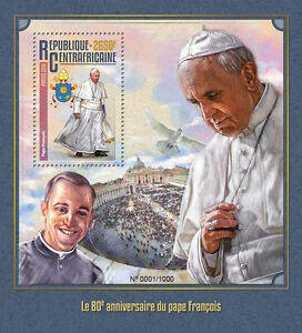 Central-African-Republic-2016-MNH-Pope-Francis-80th-Birthday-Anniv-1v-S-S-Stamps