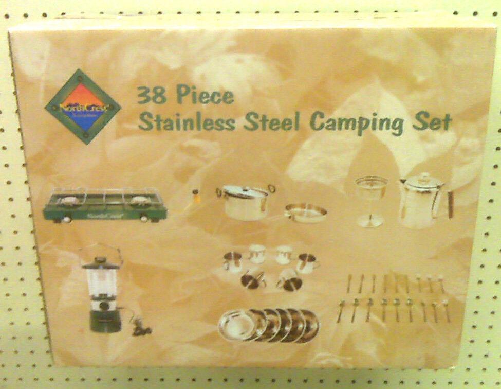 Nuevo-North Crest - 38 Piezas De Acero Inoxidable Set Camping-Excelente para el Camper