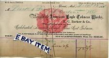 1881 Billhead AMERICAN EAGLE TOBACCO WORKS Detroit Michigan KC BARKER Smith HuLL