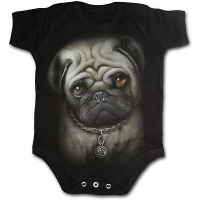 SPIRAL DIRECT Pug Life babygrow//romper//baby grow//suit//sleep puppy//dog//punk//funny