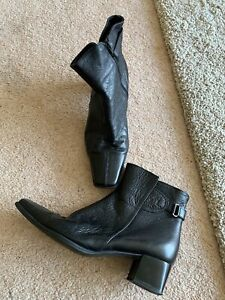 Ladies Black Leather Size 5 Ankle Boots