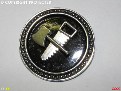 steampunk brooch badge pin silver axe saw lumberjack carpenter joiner tree wood