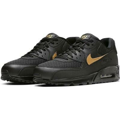 NIKE AIR MAX 90 ESSENTIAL AV7894 001 BLACKMETALLIC GOLD LEATHERMESH | eBay