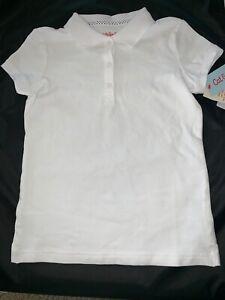 Girls Collared Plain White Short Sleeve T Shirt Cat Jack Small Med Xl Pb52 Ebay